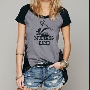 Free people Mustang Band Crochet Back Shirt Large